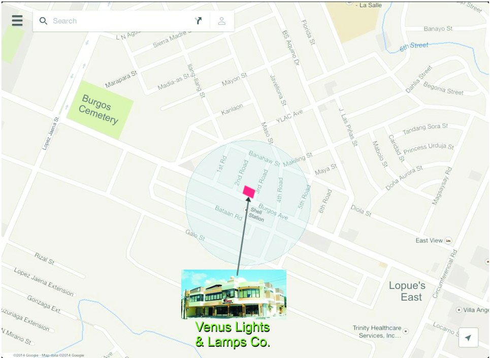 Location Map Venus Lights and Lamps Co Bacolod City Philippines